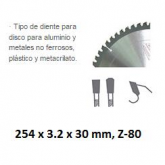 Disque de coupe widia Stayer DW aluminium 254 x 3,2 x 30 mm et 80 dents HQ