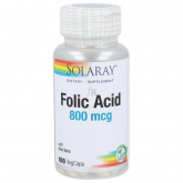 Acide folique 800 mcg Solaray, 100 capsules