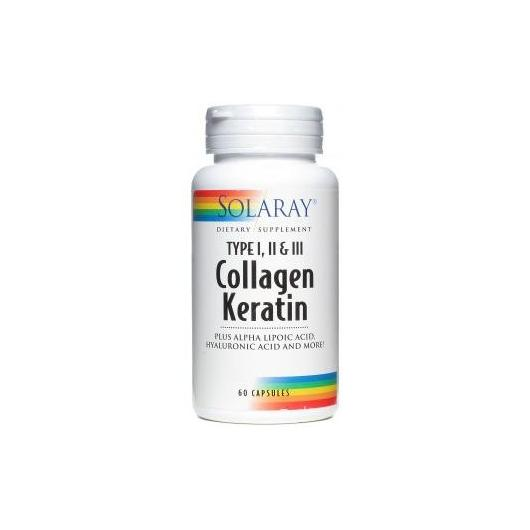 Collagen Queratina Solaray, 60 cápsulas