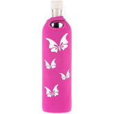 Botella de vidrio funda neopreno mariposas with Swarovski Elements Flaska