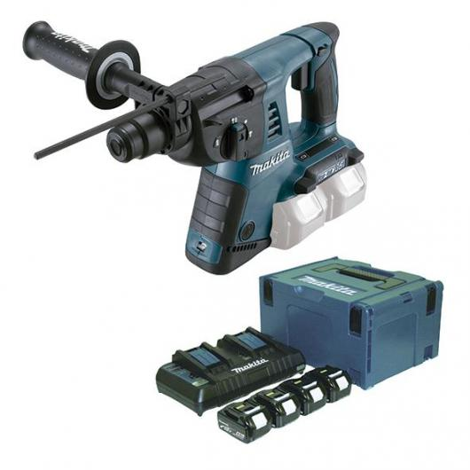 Martello leggero  26 mm 18 V x 2 4,0 Ah Litio-ion e set di demolizione SDS-PLUS Makita