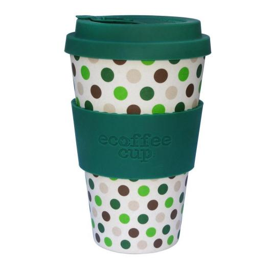 Vaso de Bambú Green Polka ecoffee Alternativa 3, 400 ml