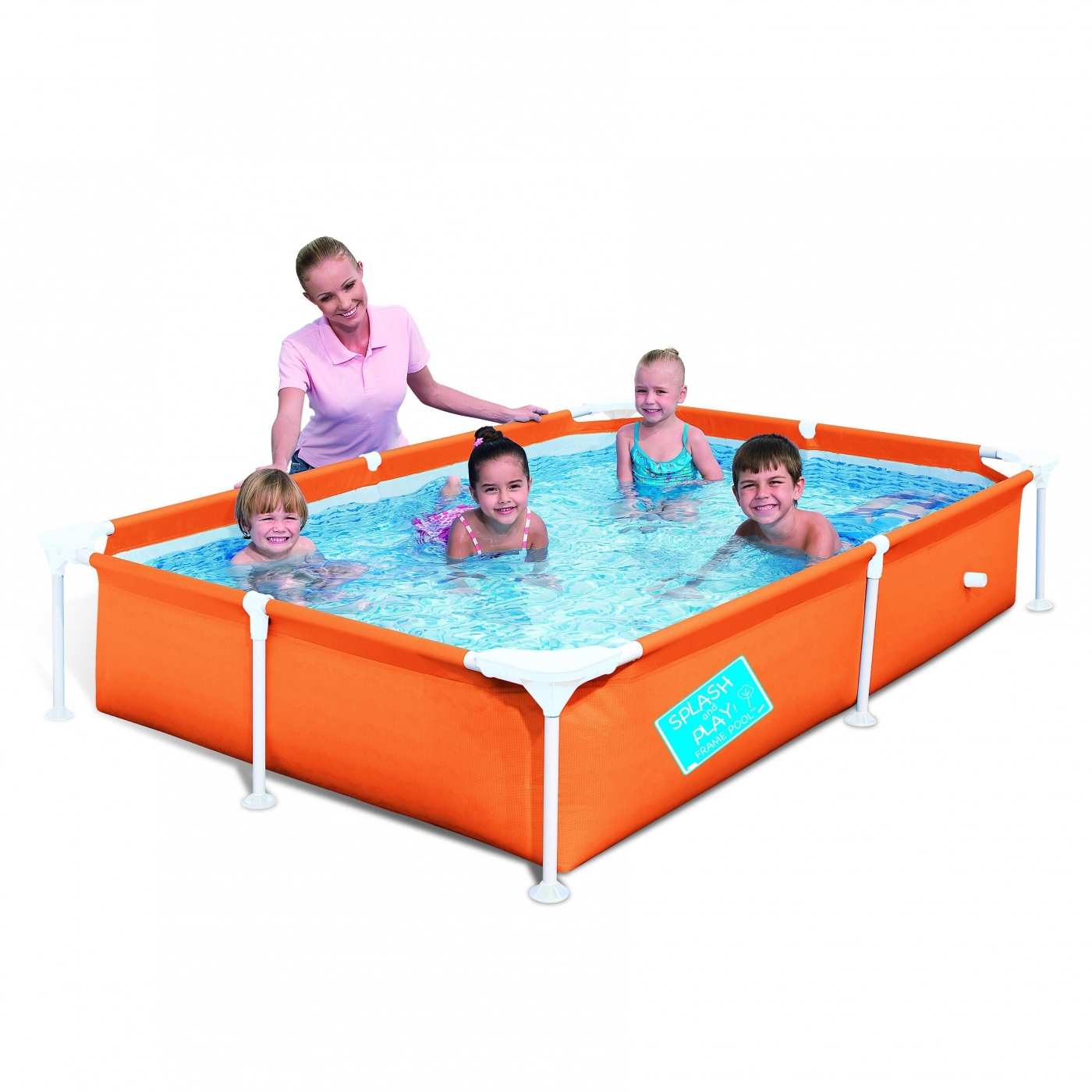 Piscina infantil my first frame naranja grande 221 x 150 x for Piscina infantil