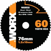 Disco multiúsos Worx de Ø 76 mm y 60 dentes